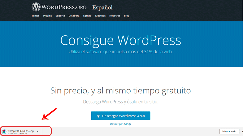 Descargar WordPress en Google Chrome